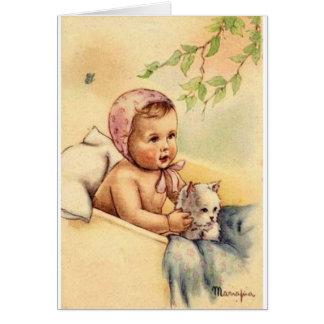 Bebé del vintage y tarjeta de felicitación del gat
