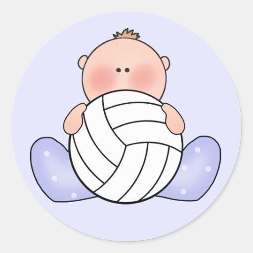 Bebé del voleibol de Lil Pegatina Redonda