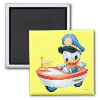 Bebé Donald en barco Imán Cuadrado