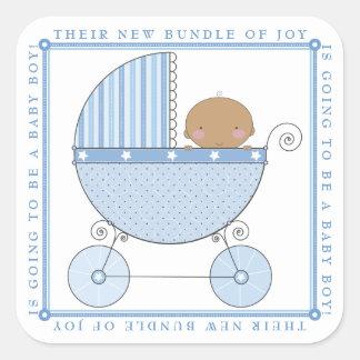 Bebé dulce étnico en azul de la fiesta de pegatina cuadrada