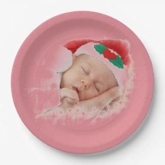 Bebé durmiente de Santa Platos De Papel