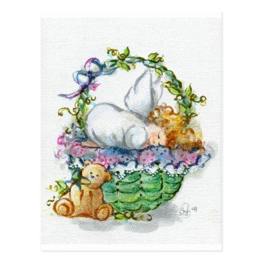 Bebé durmiente del ángel con el oso de peluche postal
