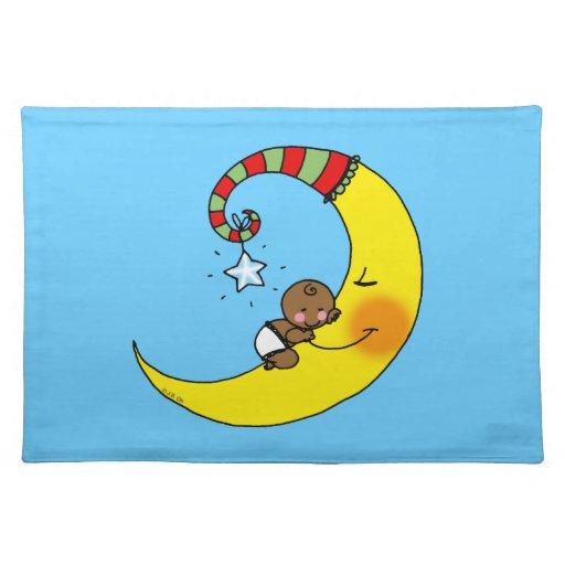 bebé durmiente en la luna mantel individual