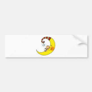 Bebé durmiente en la luna pegatina para auto