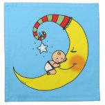 Bebé durmiente en la luna servilleta de papel