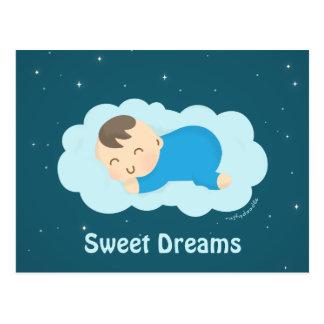 Bebé durmiente lindo de los sueños dulces postales