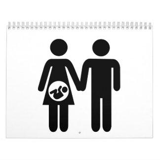 Bebé embarazada de los pares calendario de pared
