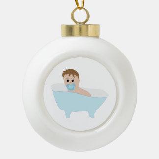 Bebé en dibujo animado de la bañera adorno de cerámica en forma de bola