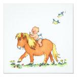 Bebé en el caballo del potro - invitación del invitación 13,3 cm x 13,3cm