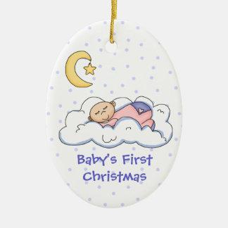 Bebé en el primer ornamento del navidad de la nube adorno navideño ovalado de cerámica