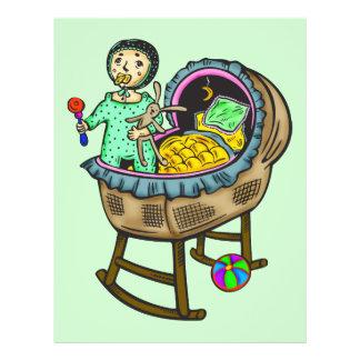 """Bebé en pesebre con los juguetes folleto 8.5"""" x 11"""""""
