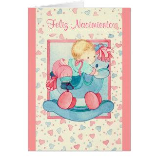 BEBÉ EN PONEYES - FELIZ NACIMIENTO - pink azul - Card