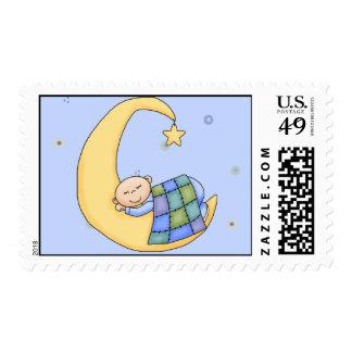 Bebé en sello de la luna