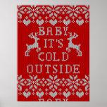 Bebé es estilo feo del suéter del exterior frío posters