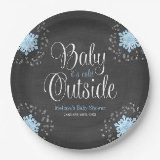 Bebé es fiesta de bienvenida al bebé azul de los platos de papel