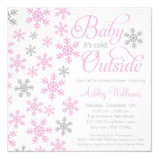 """Bebé es fiesta de bienvenida al bebé gris rosada invitación 5.25"""" x 5.25"""""""