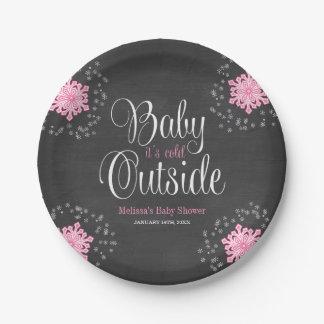 Bebé es fiesta de bienvenida al bebé rosada platos de papel