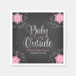 Bebé es fiesta de bienvenida al bebé rosada servilletas de papel