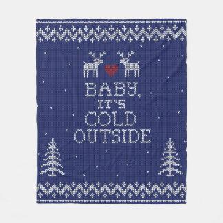 Bebé, es manta exterior fría del punto del suéter manta de forro polar