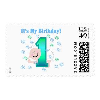 Bebé es mi 1r cumpleaños estampilla