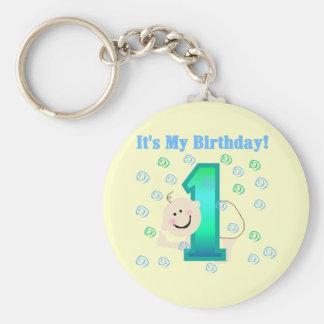 Bebé es mi 1r cumpleaños llavero redondo tipo pin