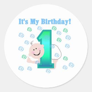 Bebé es mi 1r cumpleaños etiquetas redondas