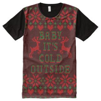 Bebé es suéter feo del navidad del exterior frío