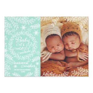 Bebé es tarjeta fría de la foto del día de fiesta invitación 12,7 x 17,8 cm
