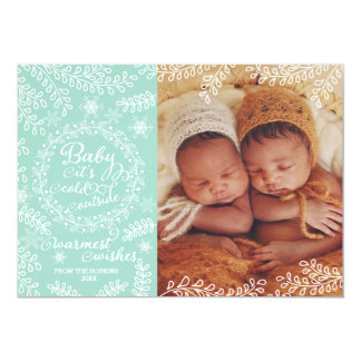 """Bebé es tarjeta fría de la foto del día de fiesta invitación 5"""" x 7"""""""