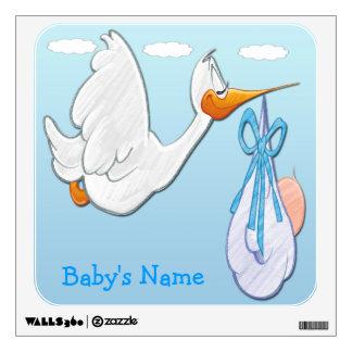 Bebé - etiqueta cuadrada de la pared de la cigüeña vinilo