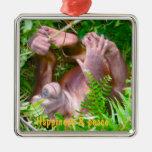 Bebé feliz de la yoga de la selva tropical ornamentos de reyes magos