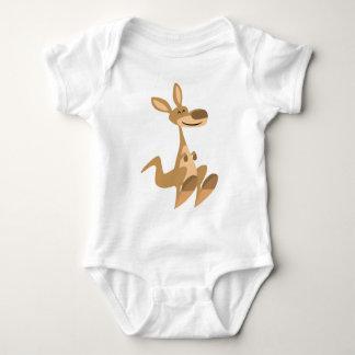 Bebé feliz lindo del canguro del dibujo animado playeras