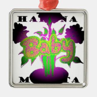 Bebé femenino Hakuna Matata.png Adorno Cuadrado Plateado