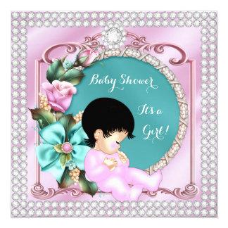 """Bebé floral del Brunette del rosa del trullo de la Invitación 5.25"""" X 5.25"""""""