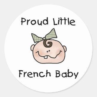 Bebé francés orgulloso del chica pegatina redonda