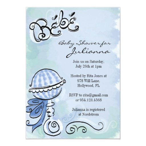 "Bebe - French Inspired baby shower invitation 5"" X 7"" Invitation Card"