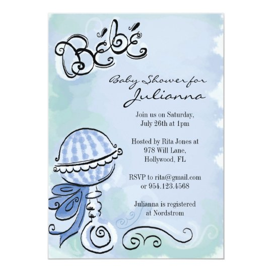 Bebe - French Inspired baby shower invitation