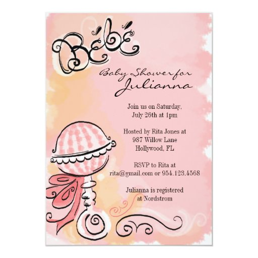 Bebe - French Inspiried Baby Shower Invite