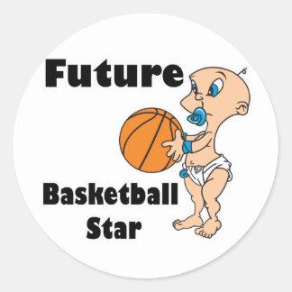bebé futuro de la estrella del baloncesto pegatina redonda