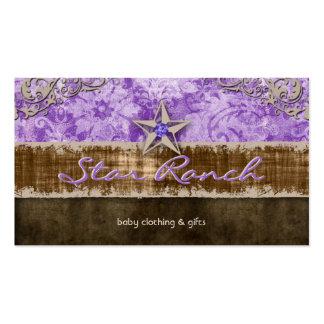Bebé H púrpura de la tarjeta de visita del ante de