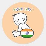 Bebé indio pegatina redonda