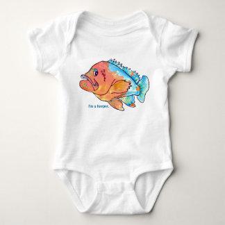 Bebé infantil divertido del mero de los pescados body para bebé