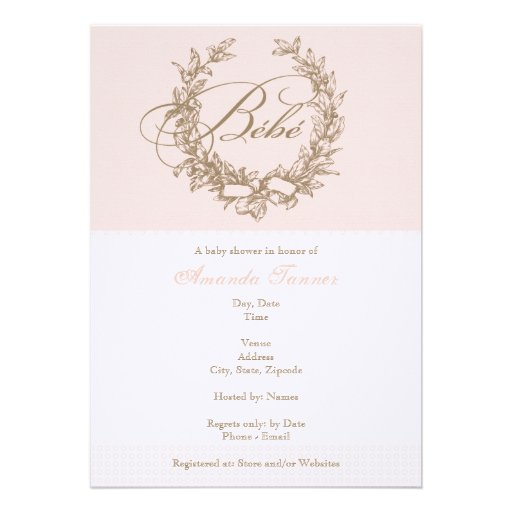 Bebe - invitación francesa rosada de la fiesta de