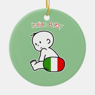 Bebé italiano adorno navideño redondo de cerámica