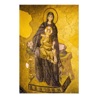 Bebé Jesús con el mosaico del bizantino de Maria Cojinete