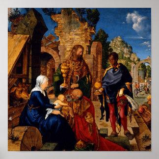 Bebé Jesús de la adoración de unos de los reyes Póster