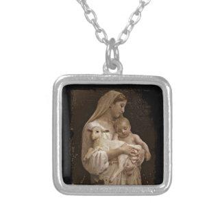 Bebé Jesús de Maria y cordero Colgante Cuadrado