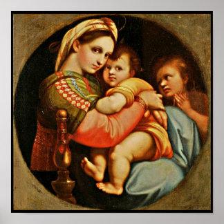 Bebé Jesús en los brazos de Maria Póster