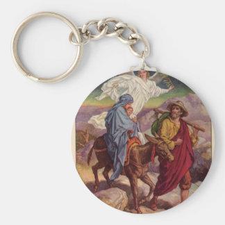 Bebé Jesús en su manera a Egipto Llavero Redondo Tipo Pin