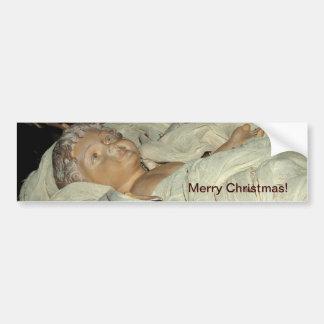Bebé Jesús en un pesebre, navidad, tarjeta de la n Pegatina De Parachoque